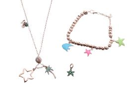 Dodo - green stone starfish pendant, charm bracelet with three charms, charm necklace with two