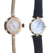 Two ladies wristwatches to include: - Cartier Vendome tri-colour lady's wristwatch, case no.