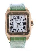 Cartier Santos 100 automatic 18ct gentleman's wristwatch, ref. 2792, no. 3041xxxx, square silvered