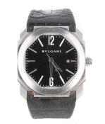 Bulgari Octo automatic stainless steel gentleman's wristwatch, ref. BGO41S, no. MP0xxx, black