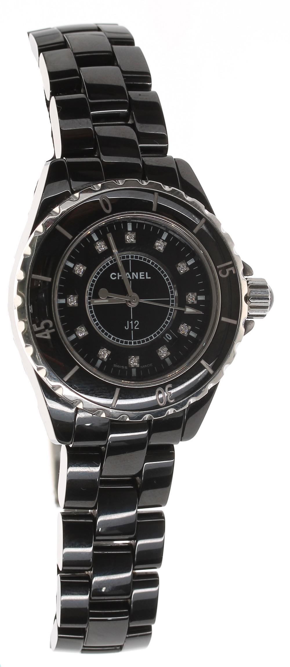 Chanel J12 black ceramic and stainless steel lady's bracelet watch, no. I.N. 70xxx, black dial