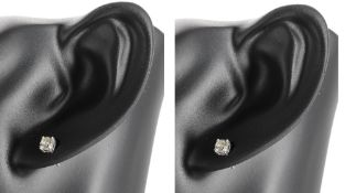 Pair of 18ct white gold diamond ear studs, round brilliant-cut
