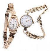 Rotary 9ct lady's manual wind wristwatch, 16.6gm; with a Vertex 9ct lady's wristwatch