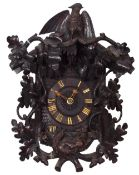 """Interesting two train Black Forest cuckoo clock in the manner of Beha, the 5"""" dial within a chalet"""