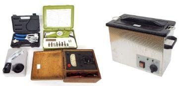 Ultrasonic electric watch cleaning unit; also a Summit MicroFix USB digital microscope, power