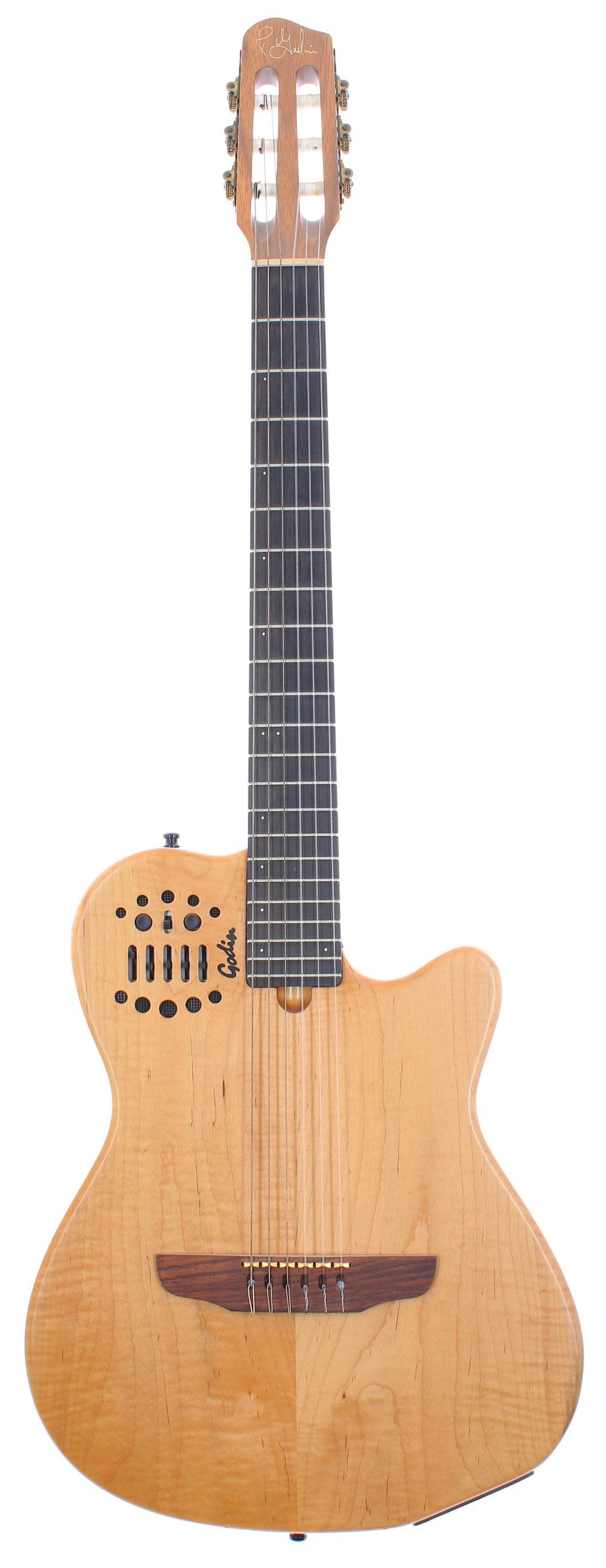 Godin Multiac ACS Nylon guitar, ser. no. 99xxxxx9; Finish: natural; Fretboard: ebony; Frets: good;
