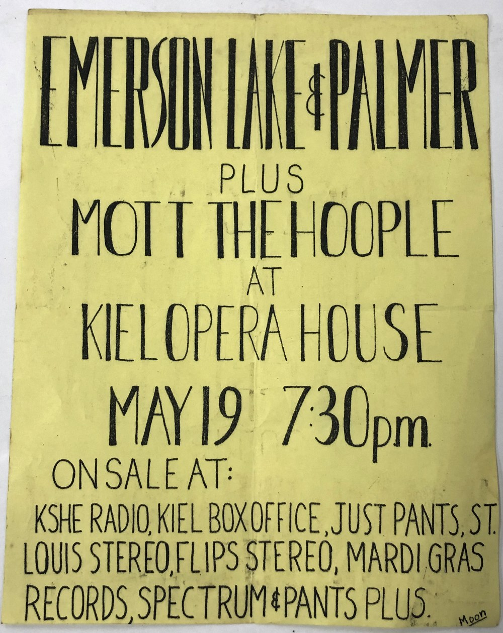Emerson Lake & Palmer and Mott the Hoople - original hand made concert flyer / poster for Emerson