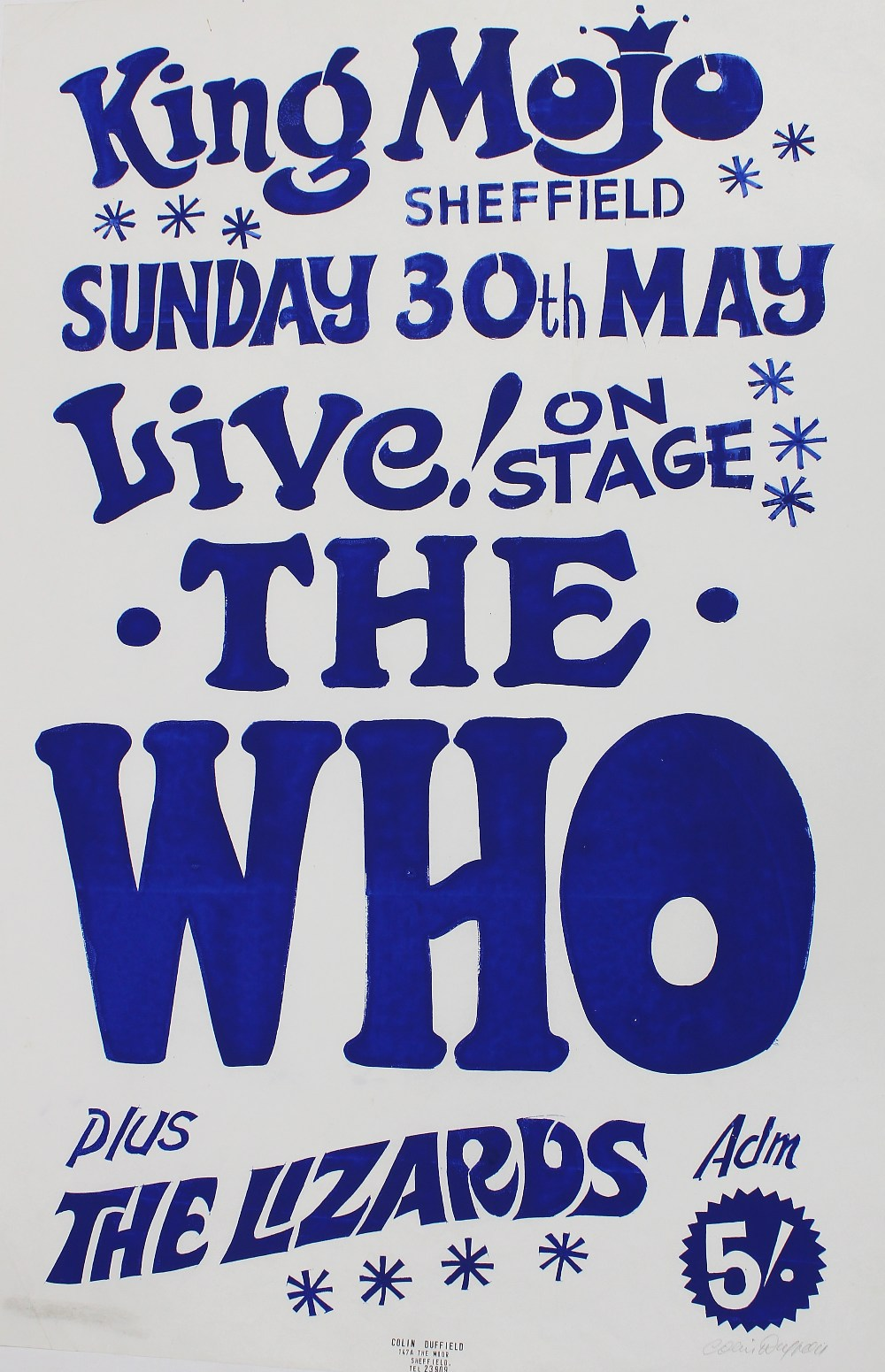 The Who - rare hand produced poster by Sheffield legend Colin Duffield, signed and stamped by the