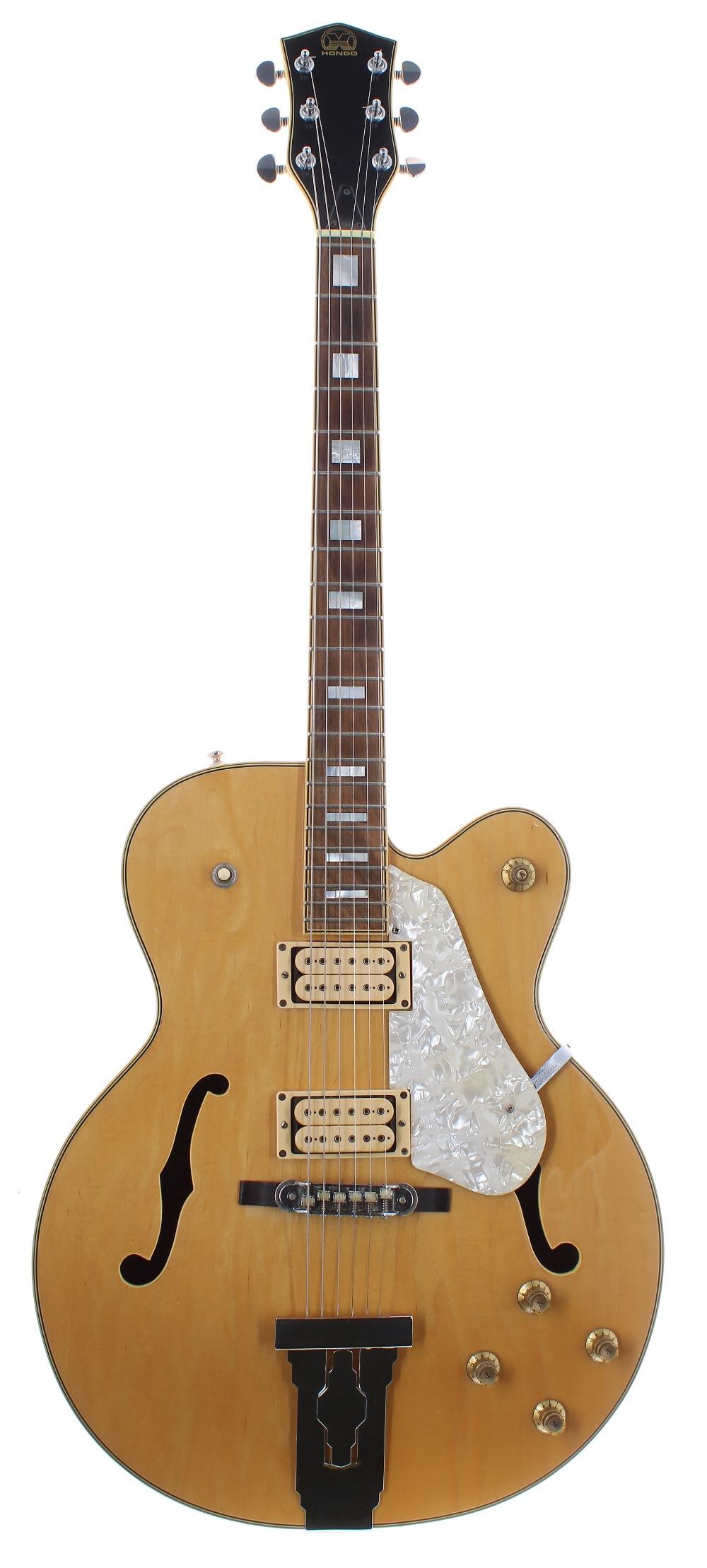 1980s Hondo HL5FBB Fat Boy hollow body electric guitar, ser. no. 88xxxxx9; Finish: natural;