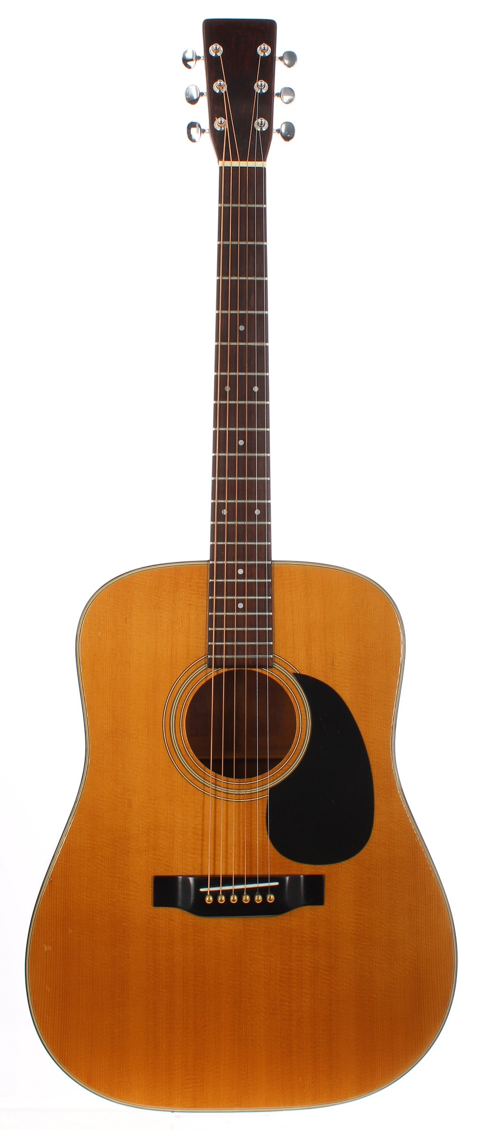 1970s Sigma D18 acoustic guitar, made in Japan; Back and sides: mahogany, surface scratches and