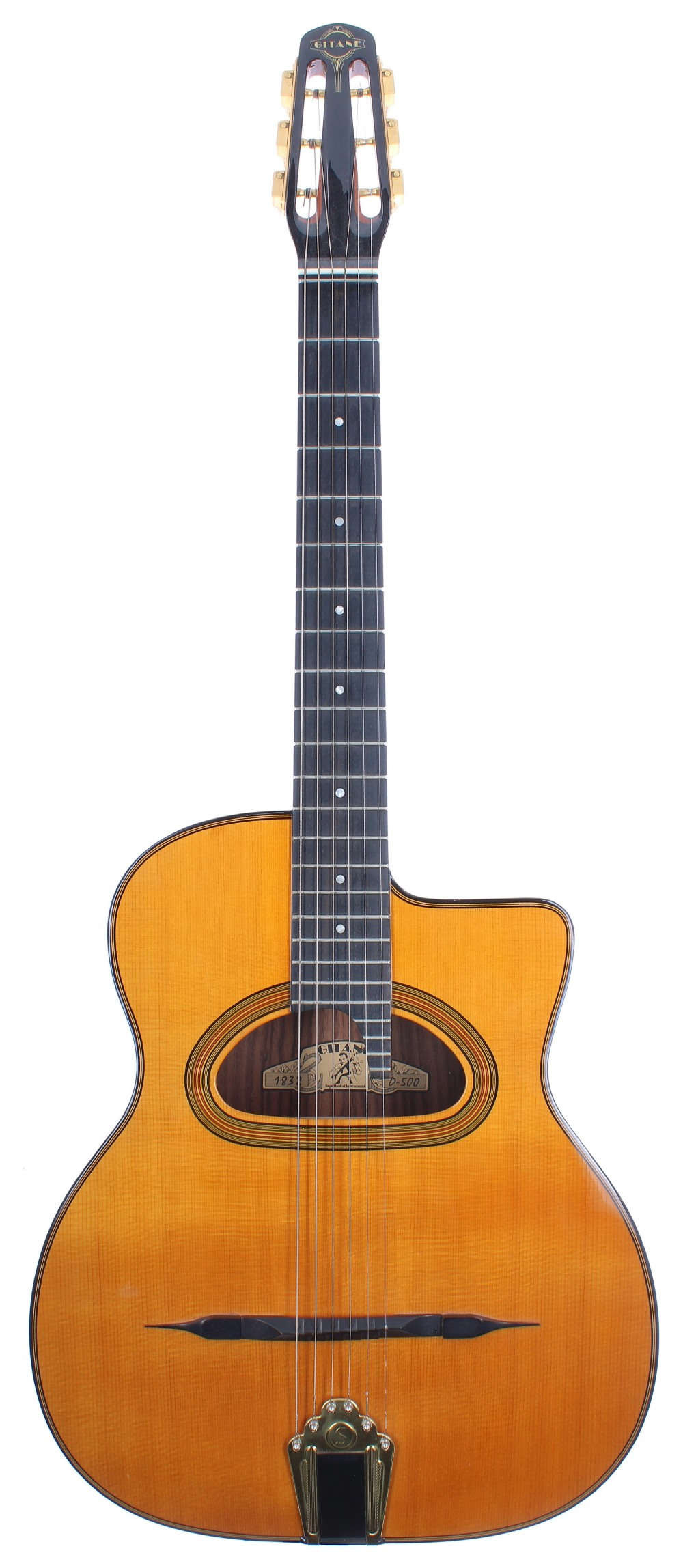 2004 Saga Instruments Gitane D-500 gypsy jazz acoustic guitar; Back and sides: rosewood; Top: