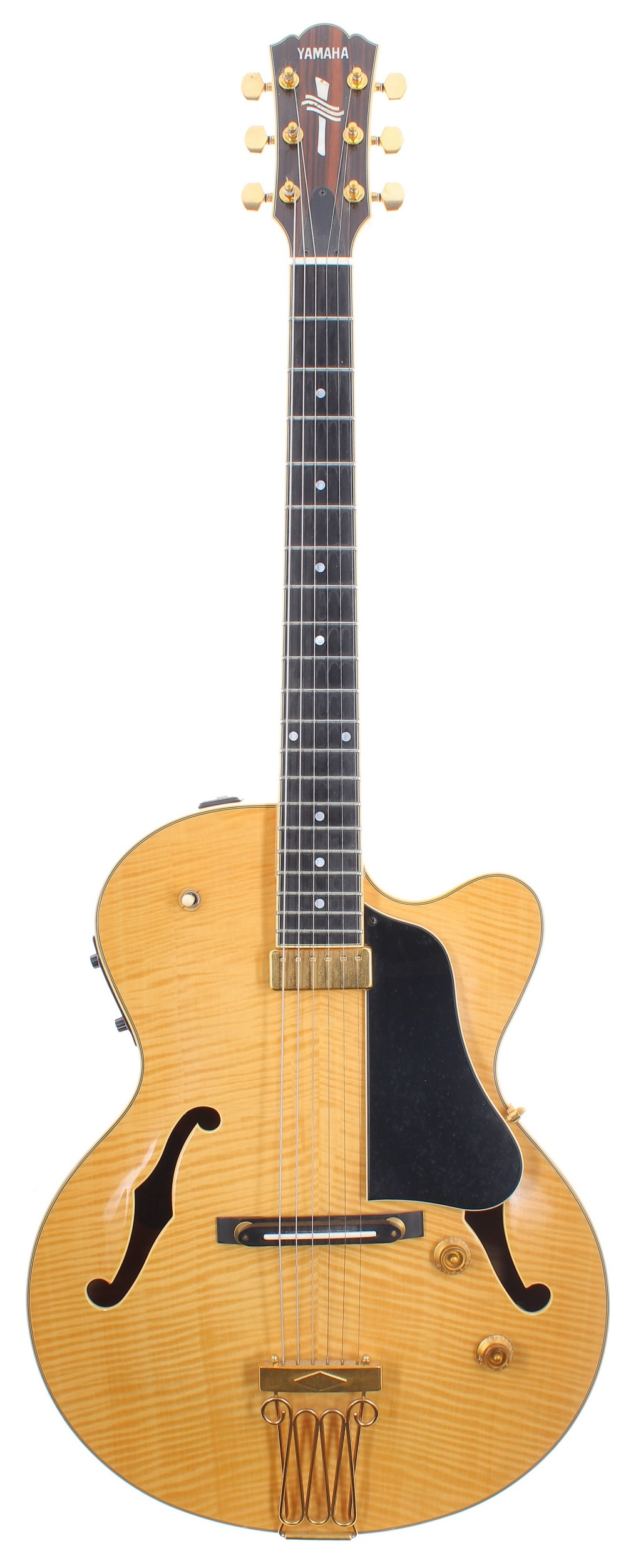 1999 Yamaha AEX1500 hollow body electric guitar, made in Japan, ser. no. 9xxxxx8; Finish: natural;