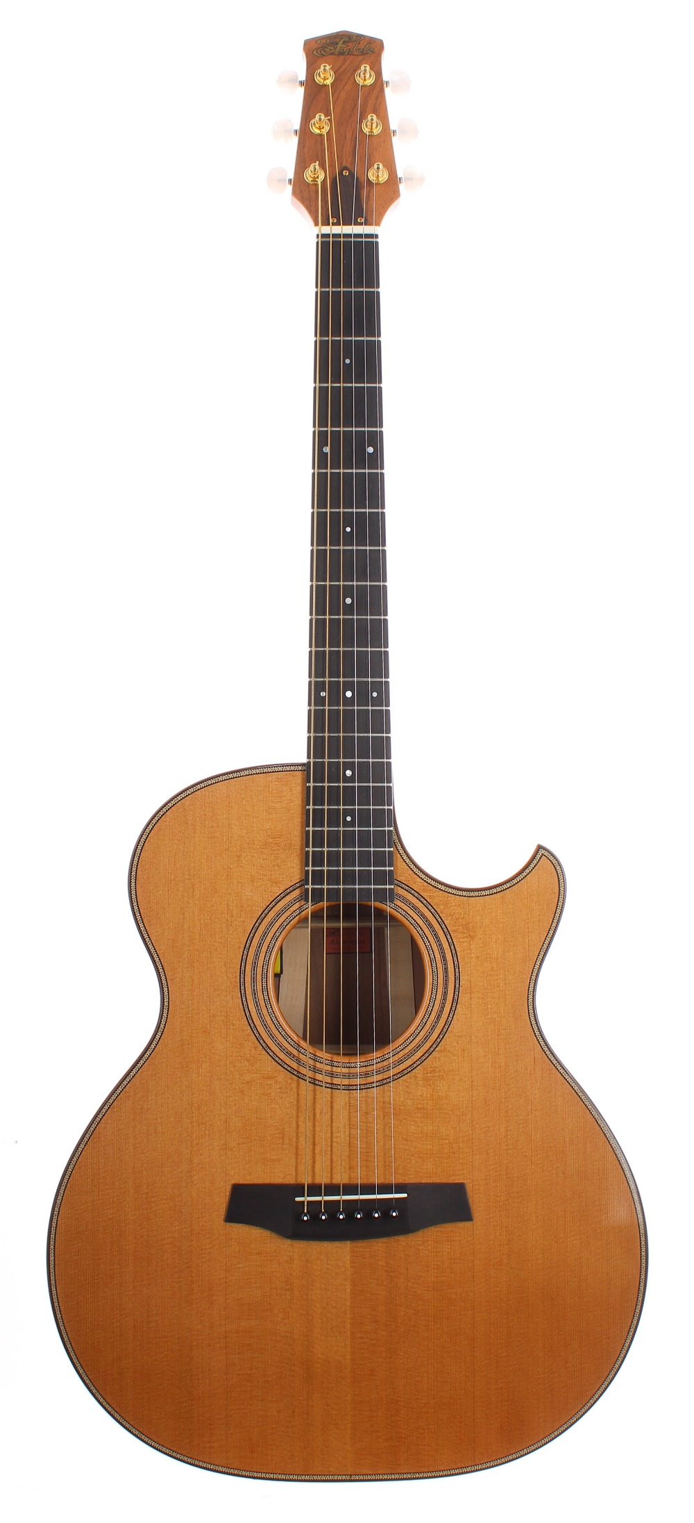 Fylde Alchemist electro-acoustic guitar, made in England, ser. no. 6xx4; Back and sides: English