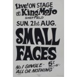 Small Faces - rare hand produced poster by Sheffield legend Colin Duffield, signed and stamped by