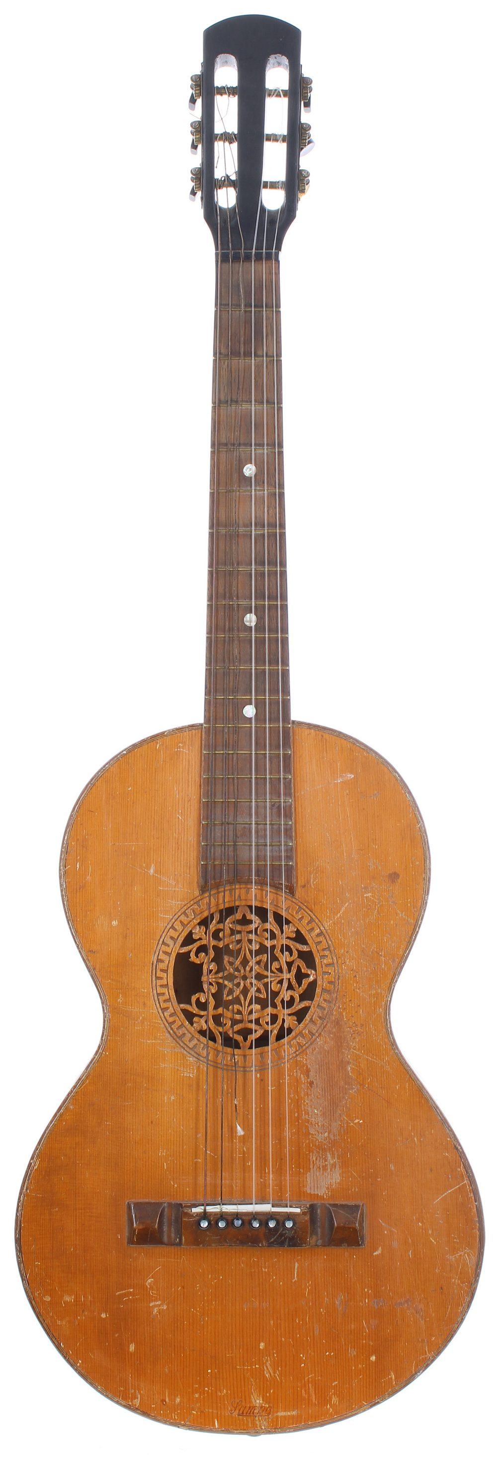 Early 20th century German parlour guitar in need of some restoration, with carved sound hole