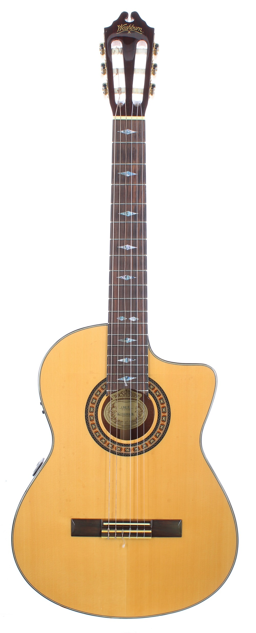 Washburn C64CE electro-classical guitar, made in China; Back and sides: mahogany, generally good