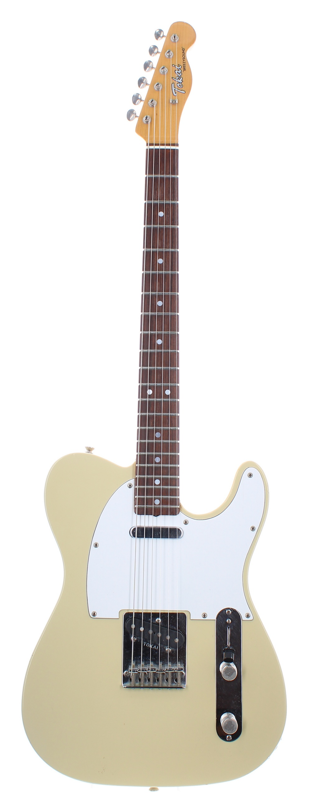 Mid 1980s Tokai Breezysound electric guitar, made in Japan, ser. no. 2xxxx7; Finish: ivory,