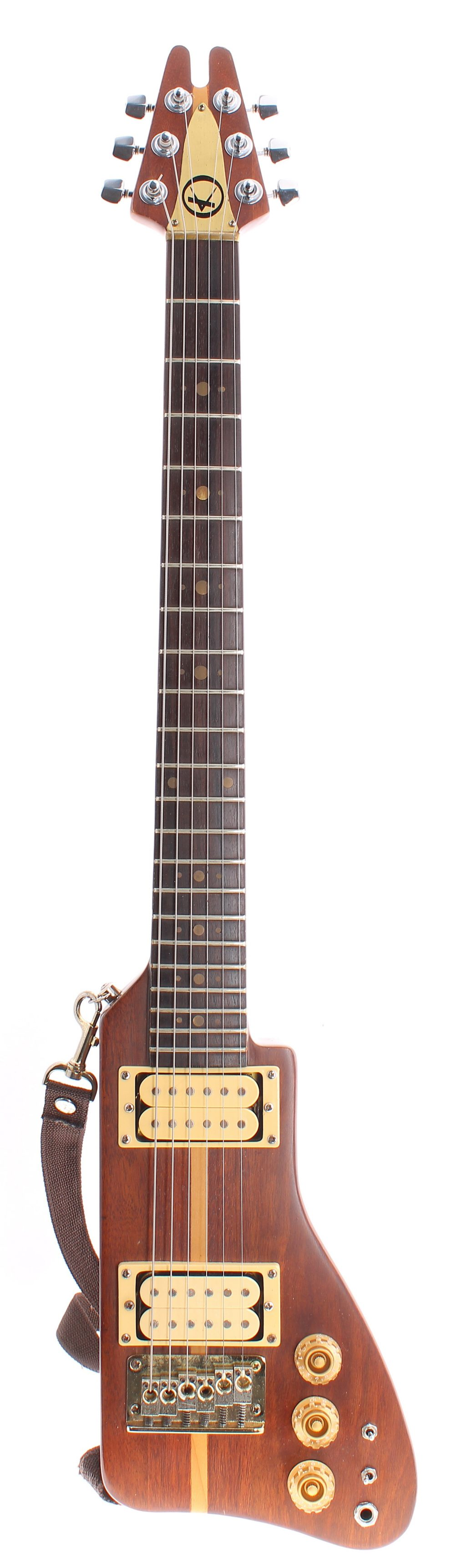 1981 Kay K-45 'Rifle' electric guitar; Finish: walnut with maple centre stripe, generally good, some