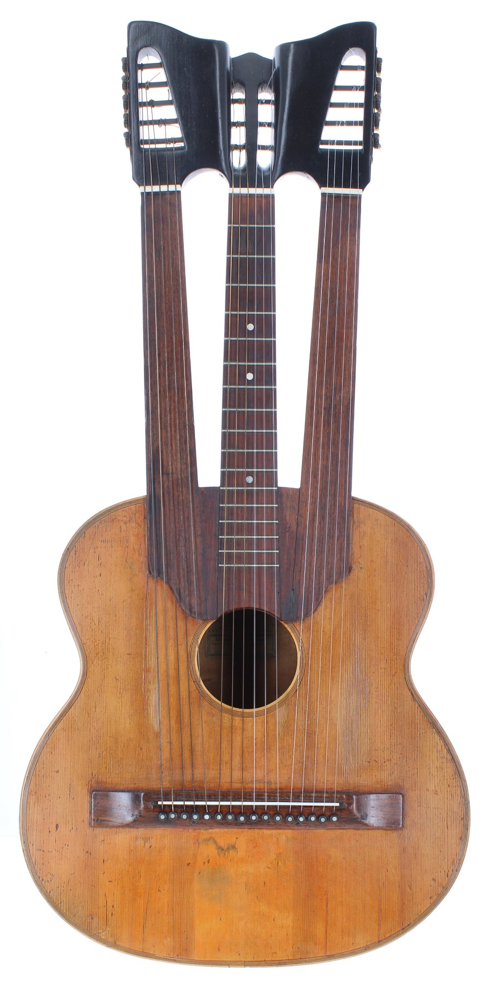 Triple-necked guitar in the style of Bernard Enzensperger, the one piece back and ribs of