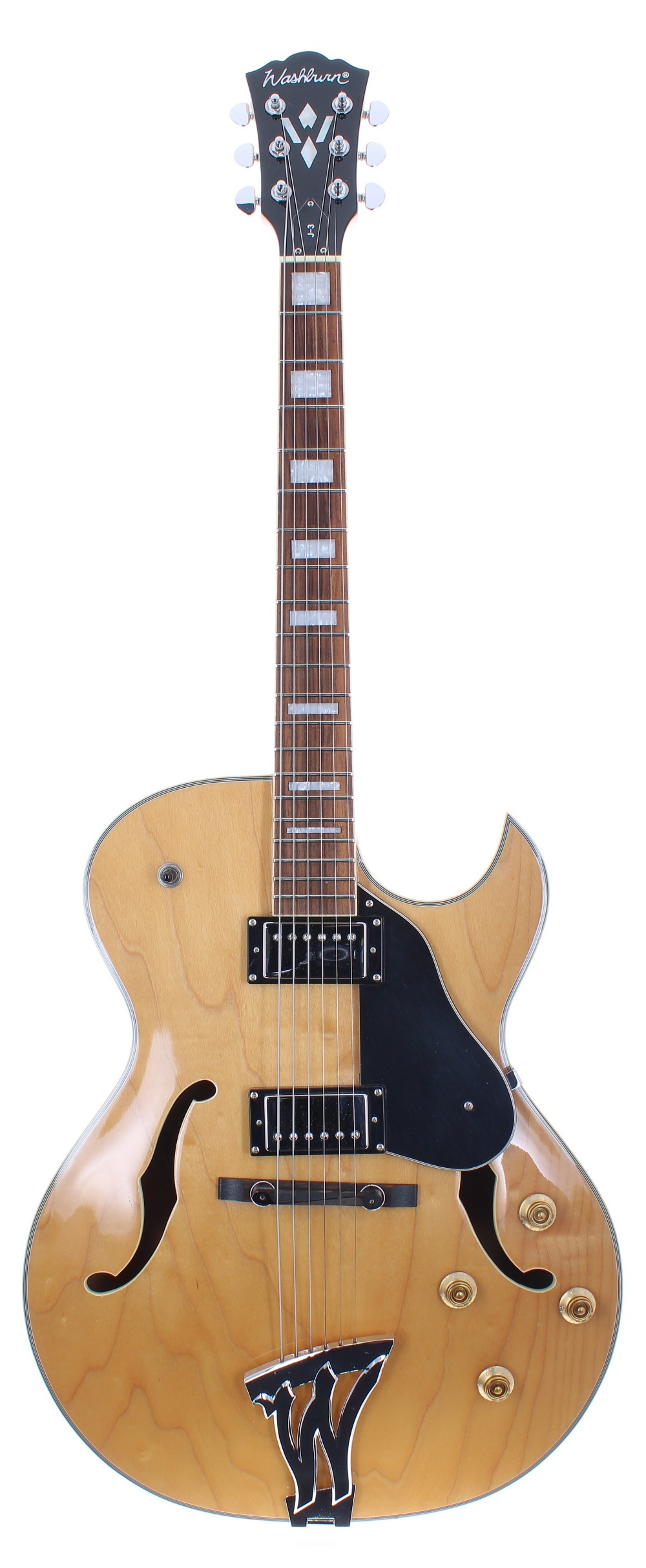 2009 Washburn J-3 hollow body electric guitar, made in China, ser.no. DC09xxxxx3; Finish: natural;