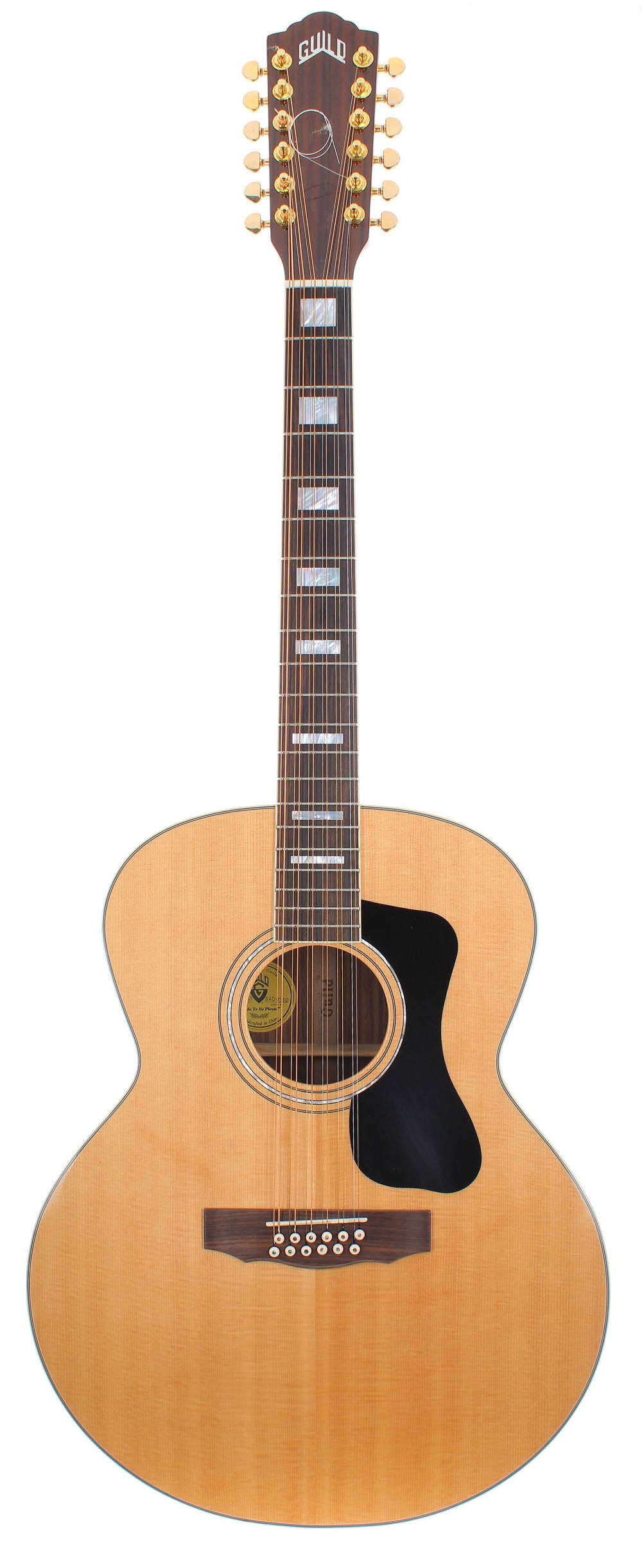 Guild F-1512 twelve string acoustic guitar, made in China, ser. no. GAD-xxxx2; Back and sides: