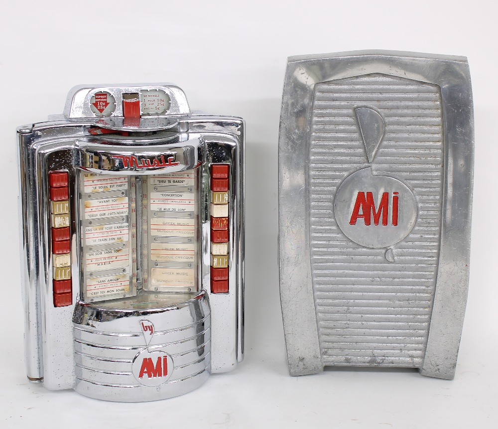 1957 AMI jukebox diner selection wall box, sold with a rare AMI table clamp