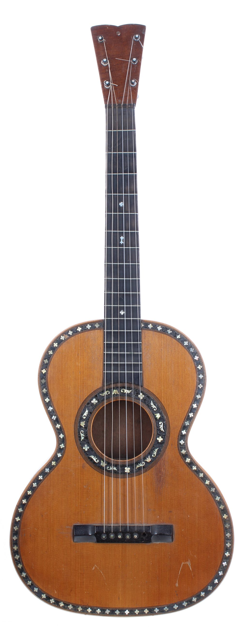 Mid 19th century German parlour guitar; Back and sides: rosewood, back with inlaid foliate