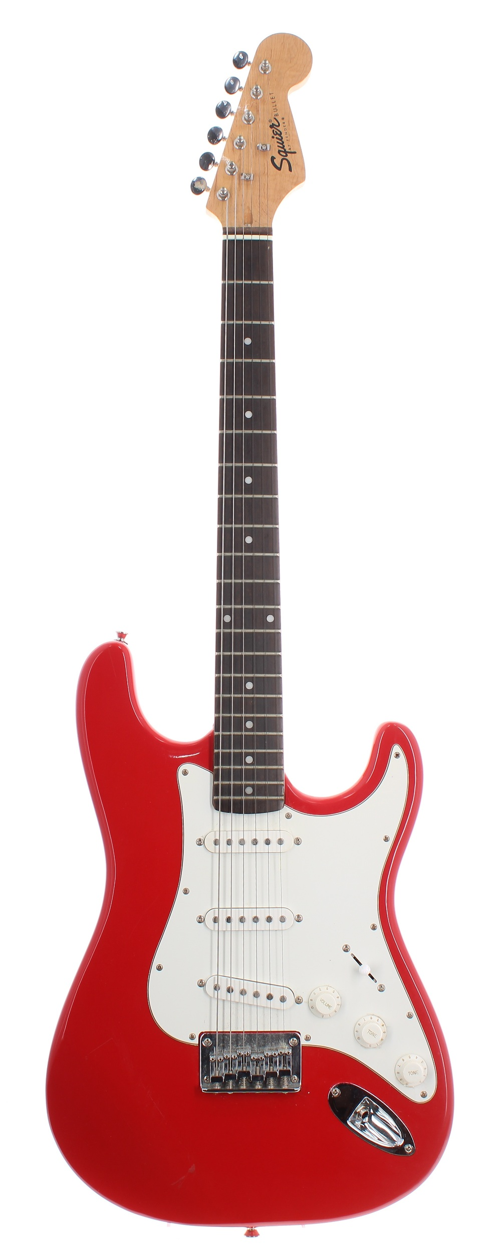 2000 Squier by Fender Bullet hardtail electric guitar, made in Indonesia; Finish: red, scratching to
