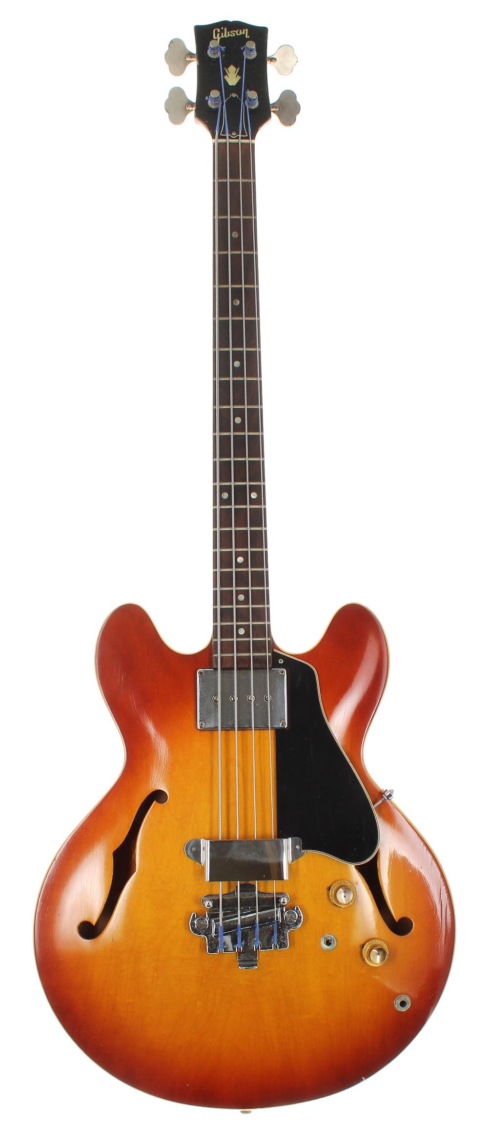 1966 Gibson EB-2 semi-hollow body bass guitar, made in USA, ser. no. 4xxxx6; Finish: sunburst,