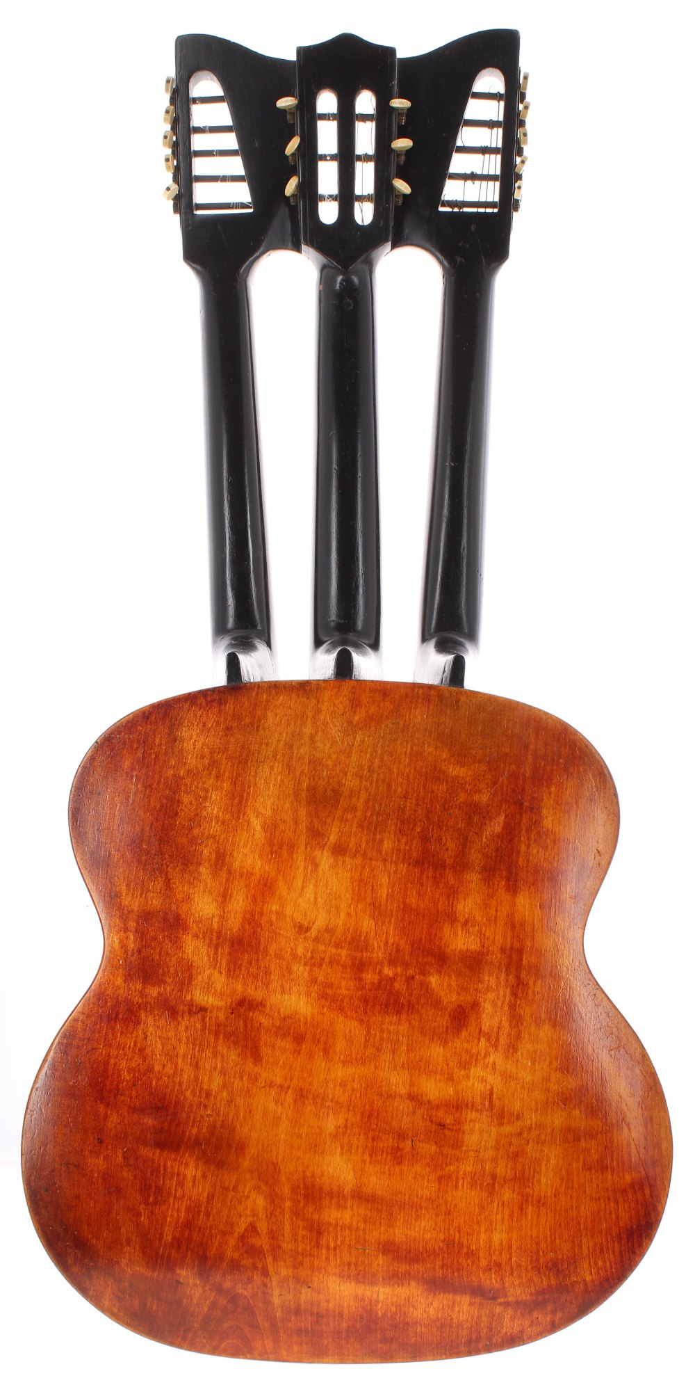 Triple-necked guitar in the style of Bernard Enzensperger, the one piece back and ribs of - Image 2 of 2