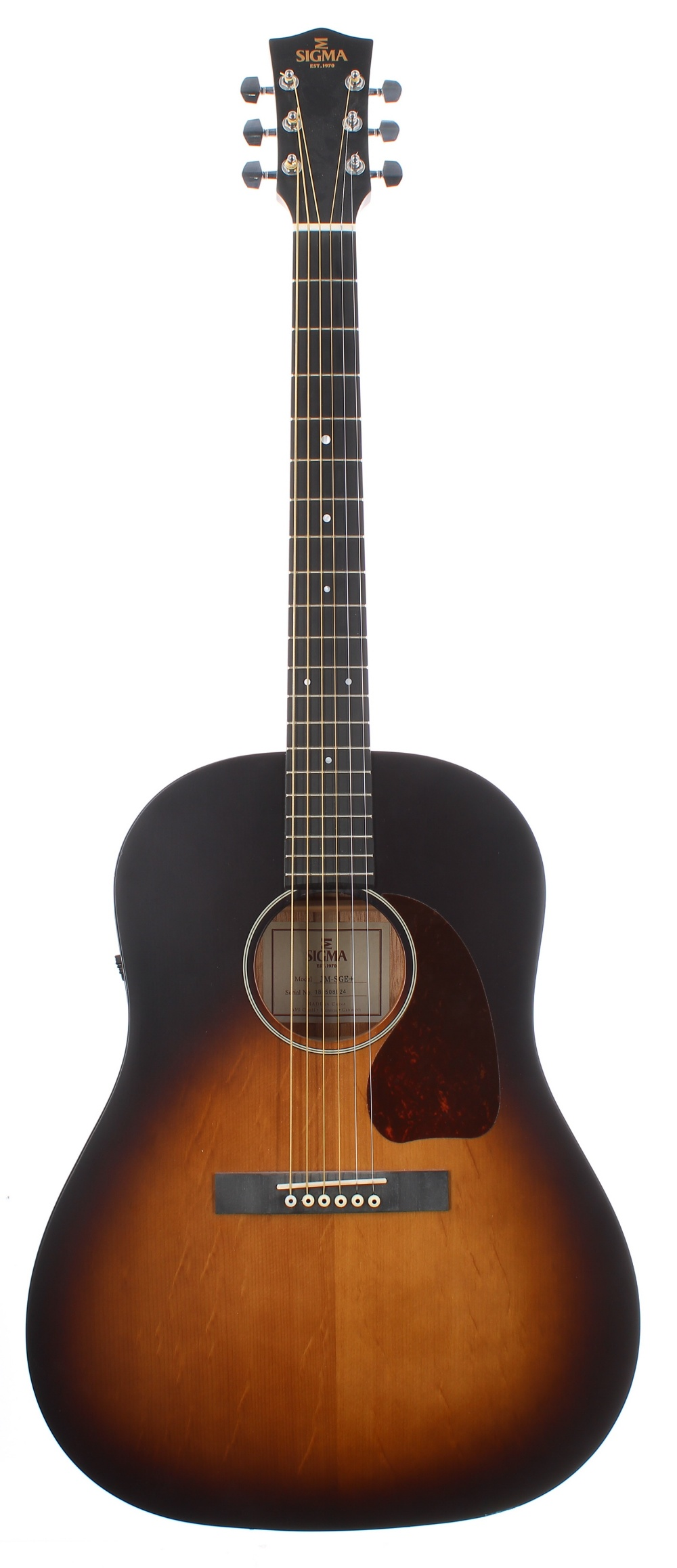 2018 Sigma JM-SGE+ electro-acoustic guitar, made in China, ser. no. 18xxxxx24; Finish: vintage
