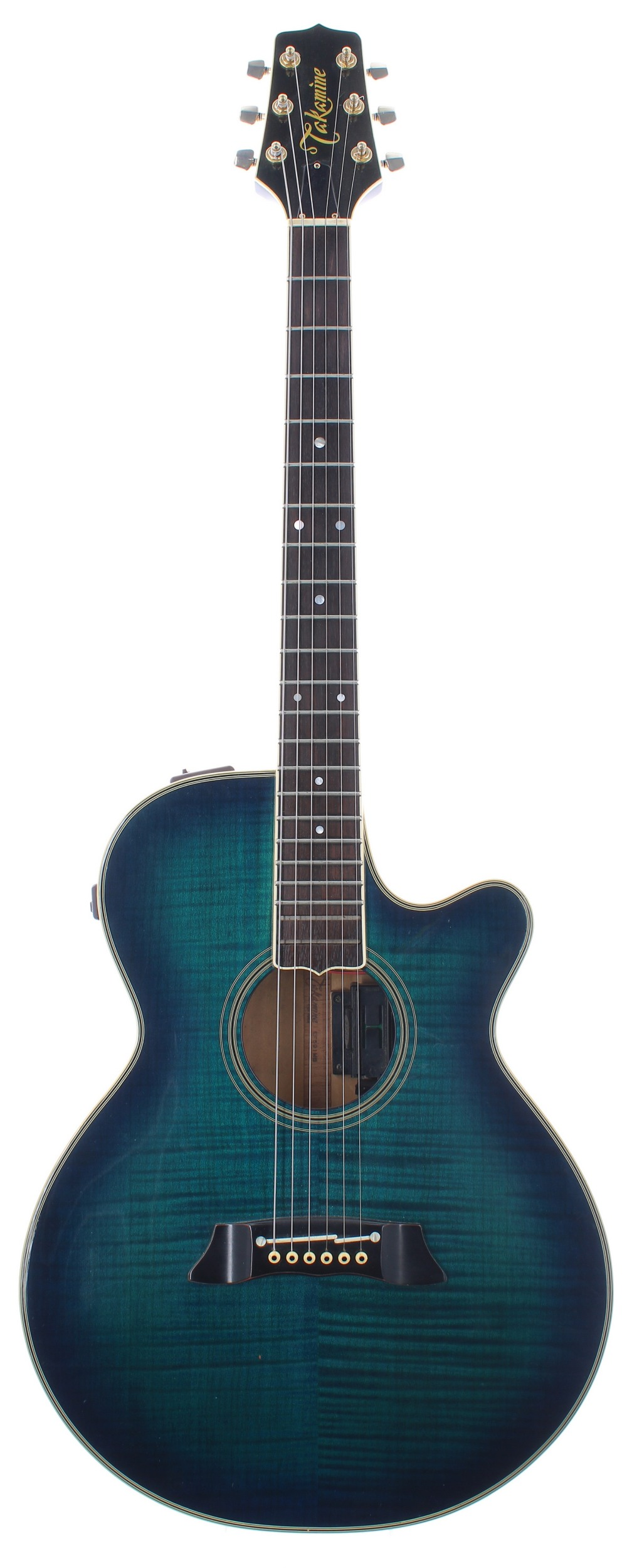 Takamine EF591 MB electro-acoustic guitar, made in Japan; Finish: blue burst, minor surface