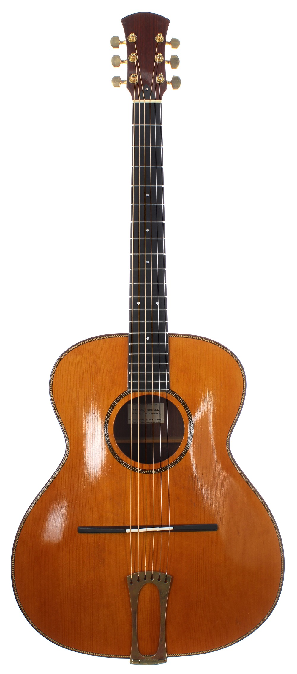 1980s Stefan Sobell archtop acoustic guitar, made in England; Back and sides: east Indian