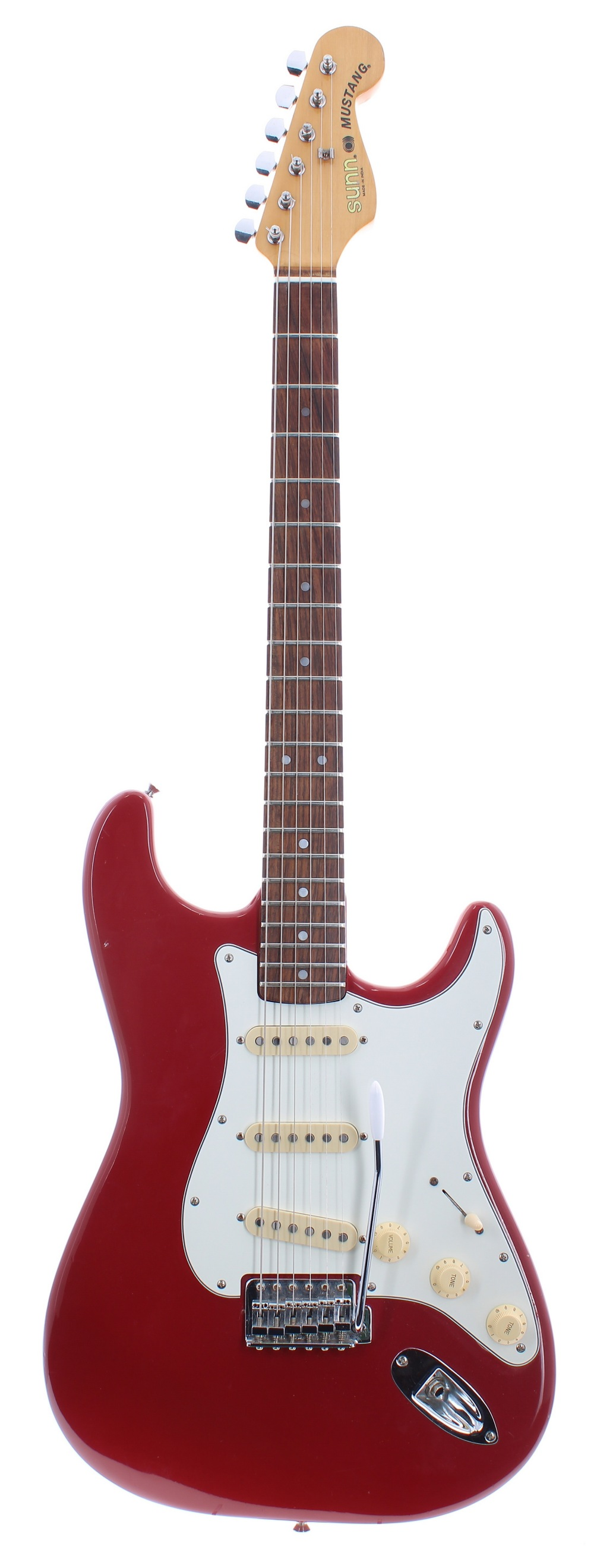 Sunn Mustang electric guitar, made in India; Finish: red, various dings and marks; Fretboard: