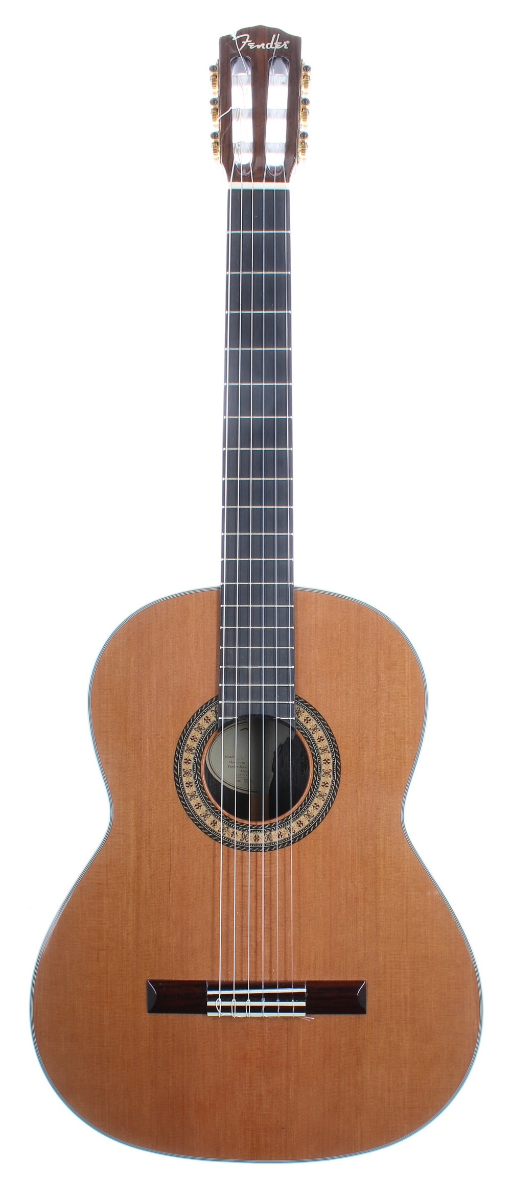 Fender CN-330AS classical guitar; Back and sides: rosewood, lacquer damage to back edge near binding