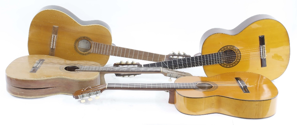 Marlin MC315 nylon string guitar, made in Japan; together with three other classical guitars in need