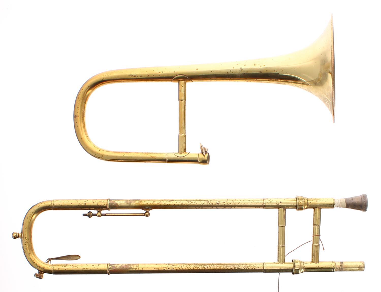 Soprano trombone, brass tubing, un-associated mouthpiece
