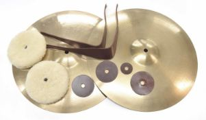 """Paul Chalklin - pair of Paiste Formula 602 16"""" concert cymbals, with pads and straps"""