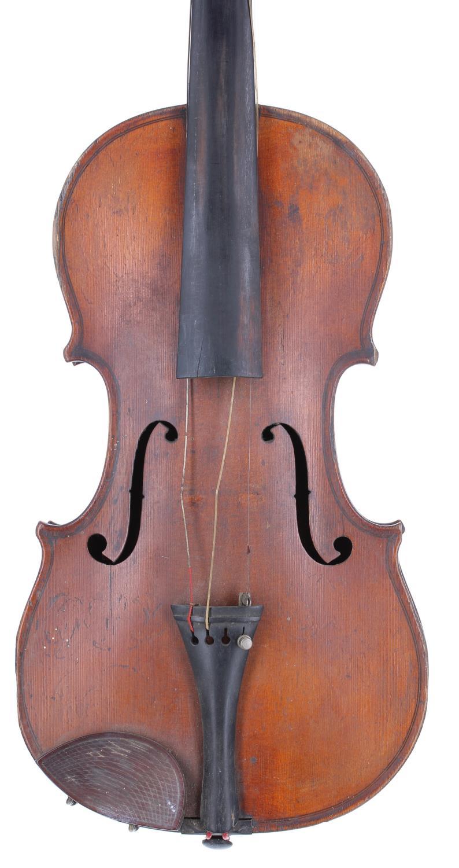 "Late 19th century German Stradivari copy violin, 14 1/8"", 35.90cm, case (violin at fault)"