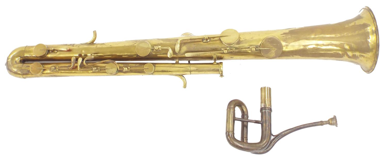 Nine-keyed ophicleide by Pierre Legoupy, Paris, circa 1840, brass tubing and keys, with crook and