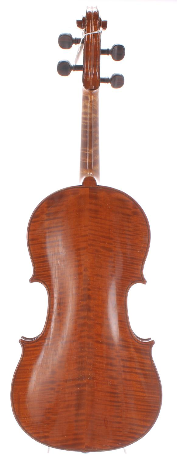 """French Lamberte Humbert violin labelled H. Clotelle, 14 1/8"""", 35.90cm, bow - Image 2 of 2"""