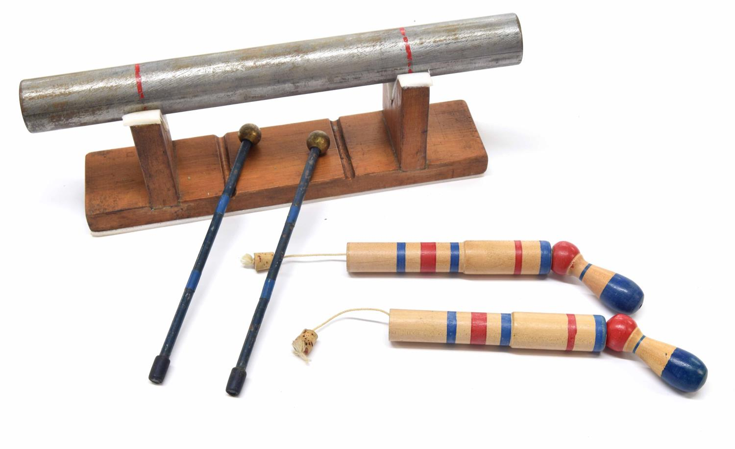 Paul Chalklin - anvil bar effect on stand with a pair of mallets; together with a pair of pop gun