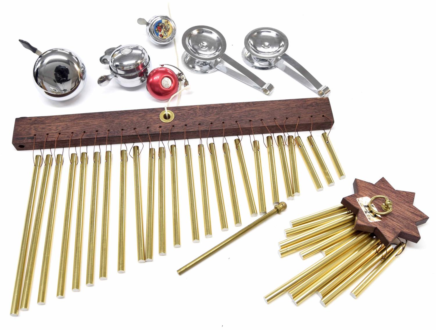Paul Chalklin - Latin Percussion brass chime bar; together with a Latin Percussion cluster chime,