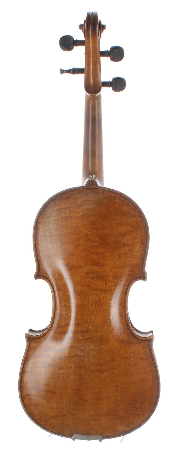 Interesting 19th century violin with good two piece maple back of an attractive irregular curl, - Image 2 of 2