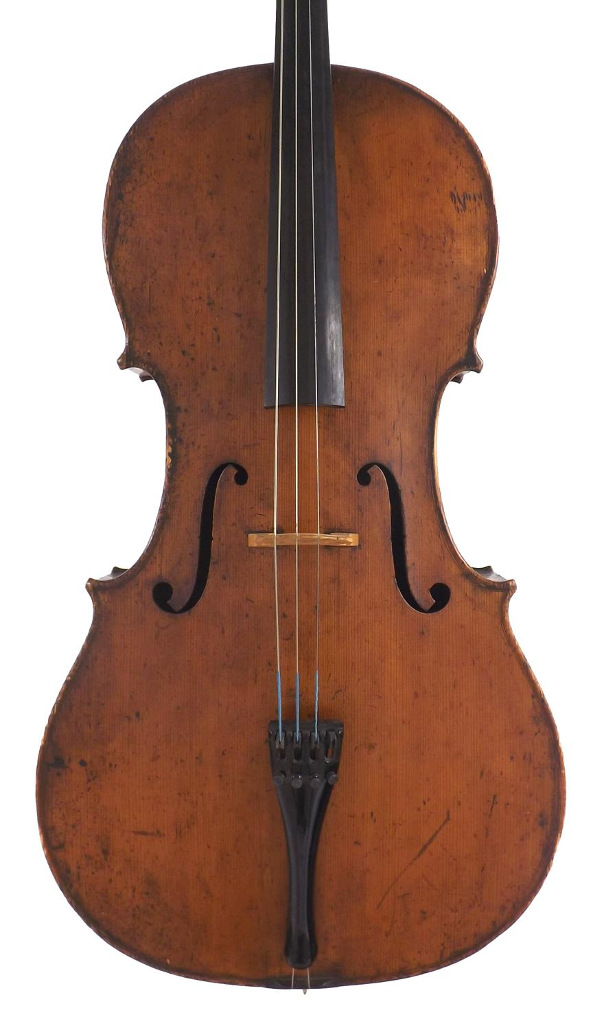 Good 19th century German violoncello labelled Louis Noebe...Hamburg and inscribed in ink on the