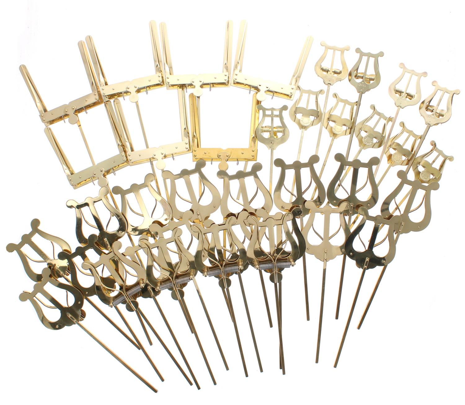 Thirty-seven assorted lyres for brass instruments (37)