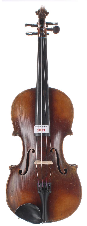 "Late 19th/early 20th century German violin, 14 1/8"", 35.90cm"