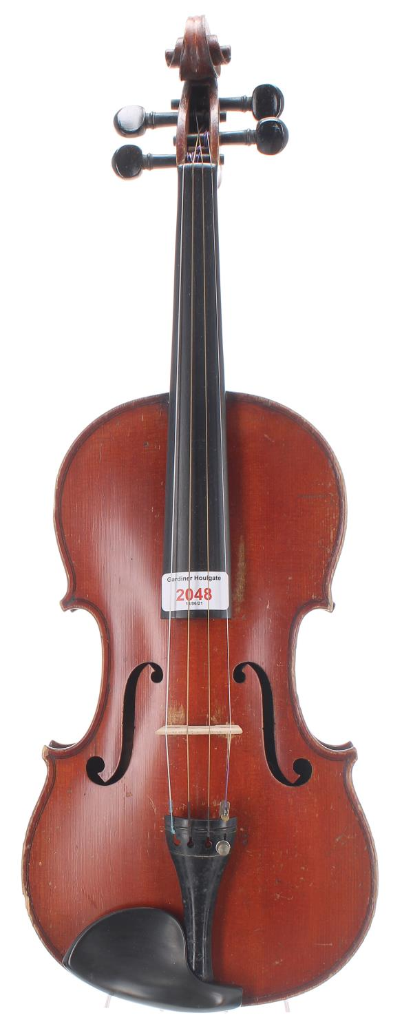 """Early 20th century French violin, 14"""", 35.60cm (table soundpost crack)"""