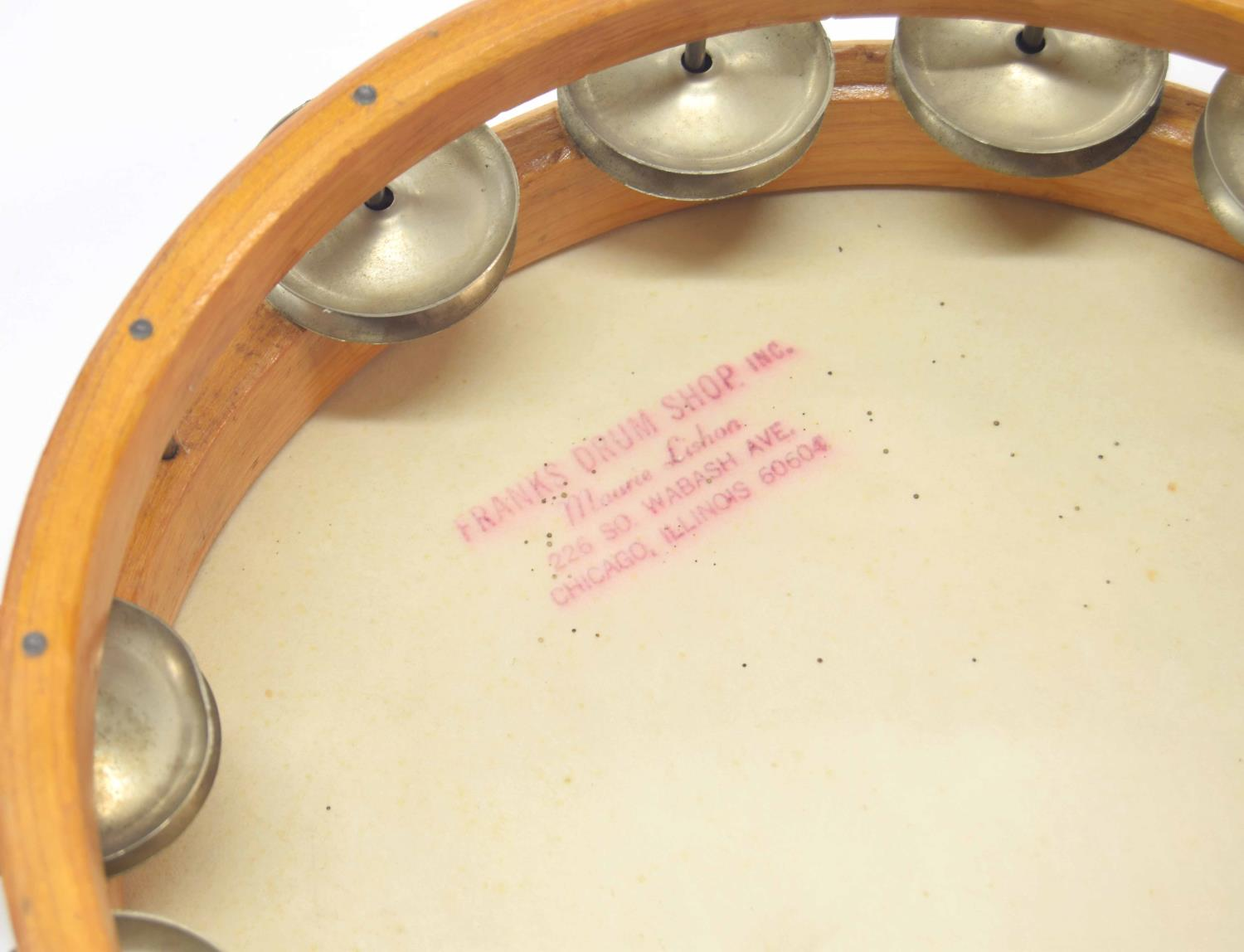 """Paul Chalklin - 10"""" tambourine branded on the skin 'Franks Drum Shop Inc, Chicago Illinois' - Image 2 of 2"""