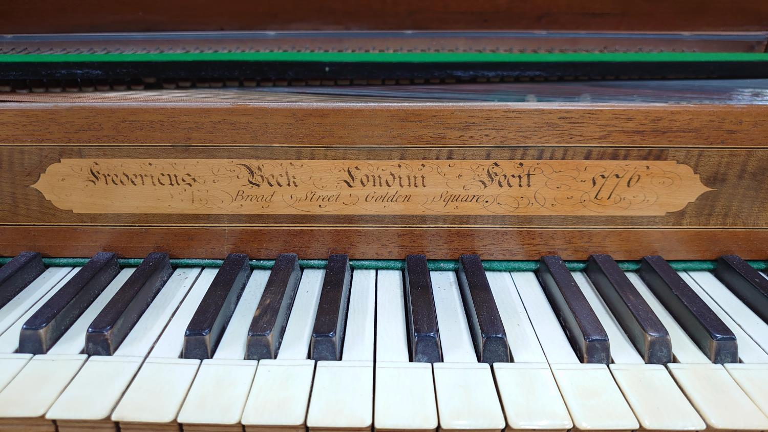 Square piano by Frederick Beck, London 1776, the case of mahogany with chequered stringing, the - Image 2 of 3